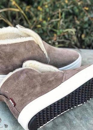 Хит сезона универсальные натуральные кожаные женские ботинки слипоны