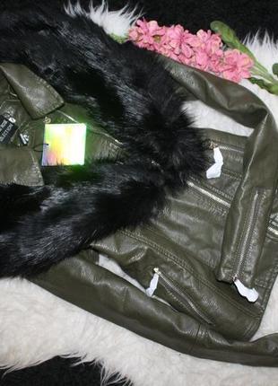 Роскошная косуха со съемным мехом missguided