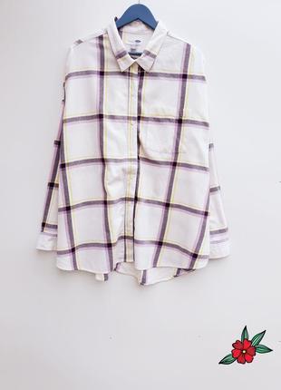 Хлопковая рубашка бойфренд в клетку нежная рубашка оверсайз рубашка пижама