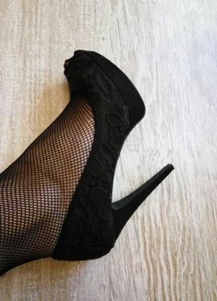 Нарядные кружевные туфли с открытыми пальцами next размер 38.5