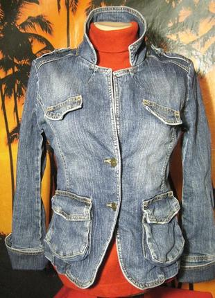 Джинсовая стрейч куртка пиджак блейзер