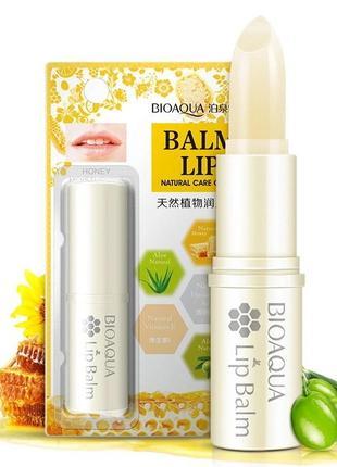 Восстанавливающий бальзам для губ bioaqua с медом и гиалуронкой
