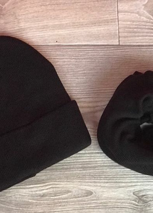 Комплект шапка лопата и баф снуд хомут унисекс мужской женский