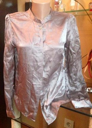 Блузка рубашка шелковая на пуговицах