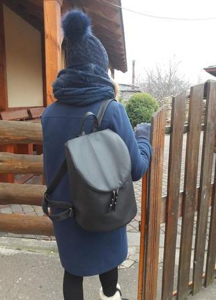 Вместительный женский рюкзак цилиндр чёрный для учебы, прогулок