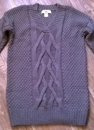 Вязаное платье массивной крупной вязки с косами