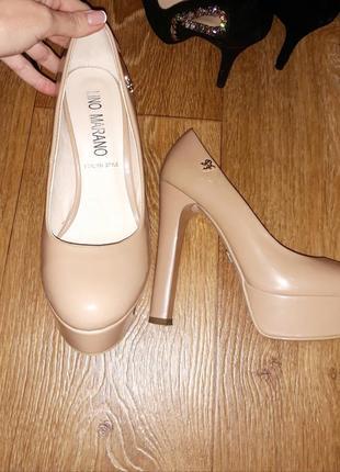 Нюдовые туфли 35 размера, большемерят, подойдут на 36