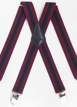 Широкие черно-бордовые мужские подтяжки paolo udini (арт. 300)