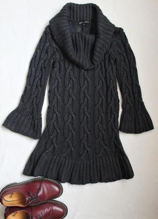 Платье крупной вязки графитового цвета от marks & spencer, размер s
