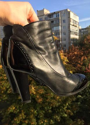 Сапоги полусапожки ботильоны на каблуке размер 37 кожа кожаная обувь сапожки