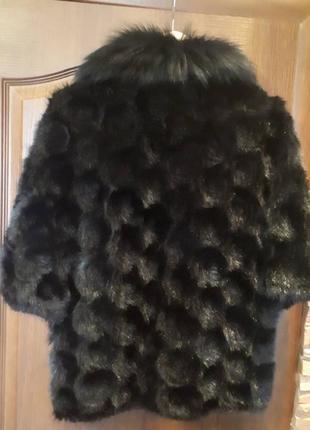 Норковая жилетка манто меховушка с меховым воротником натуральный мех2 фото