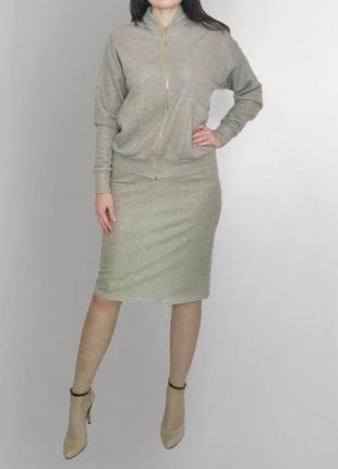 Скидка 100 грн от цены до 01.03💥. костюм с люрексом , бомбер+юбка карандаш.