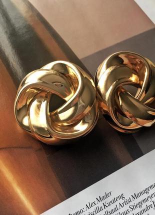 Серьги в стиле h&m круглые массивные в золотом цвете, statement earrings5