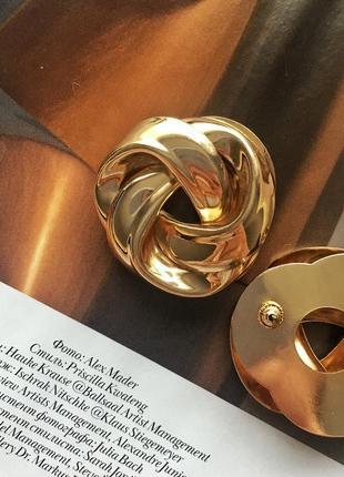 Серьги в стиле h&m круглые массивные в золотом цвете, statement earrings4