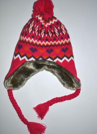 Зимняя вязаная шапка на флисе с мехом.