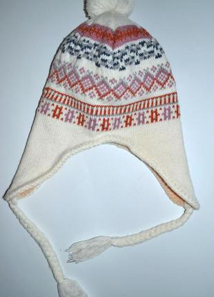 Теплая вязаная шапка на флисе с орнаментом.2