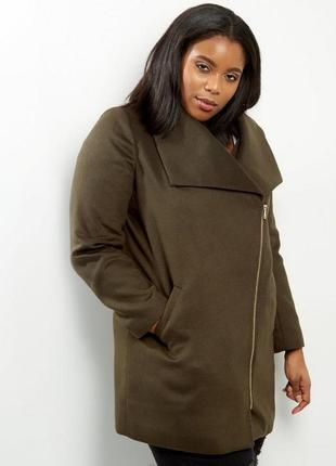 Демисезонное актуальное пальто оверсайз на молнии, свободное батал, осеннее бойфренд
