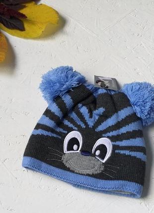 Вязаная тёплая шапка на флисе с ушками