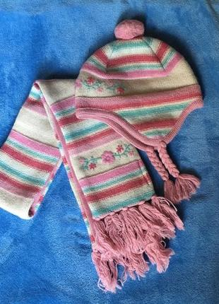 Комплект шапка шарф , возраст 3-5 лет