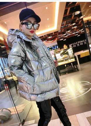 Шикарная женская куртка зимняя оверсайз oversize металлик m-l