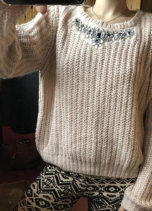 Теплый объемный свитер оверсайз крупной вязки