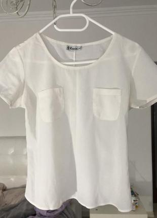 Белая шифоновая футболка блузка