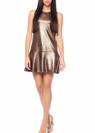 Платье сарафан золотой шикарный клубное