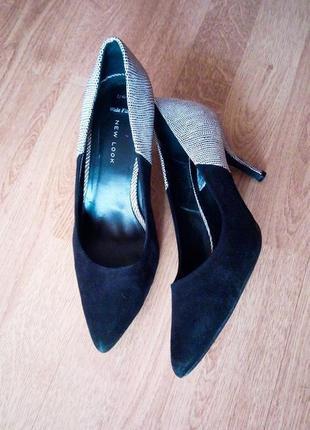 Лодочки туфли черные с белым замш экокожа классические на шпильке
