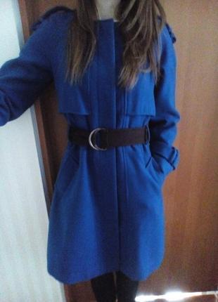 Элегантное синее осеннее драповое тёплое пальто м atmosphere индиго с поясом с карманами