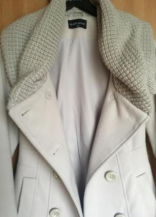 Серое пальто savage с вязаным воротником3 фото
