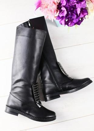 Зимние кожаные сапоги-ботфорты