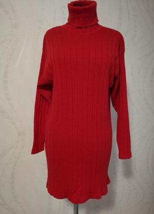 Мягкое шерстяное платье-гольф длинный свитер джемпер 80см (м-л)