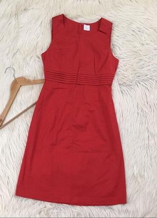 Красное платье алое французского бренда классическое camaieu