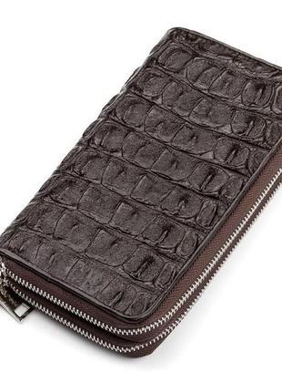 Мужской клатч crocodile leather 18006 из натуральной кожи крокодила коричневый