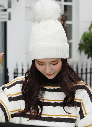 Женская зимняя шапка теплая