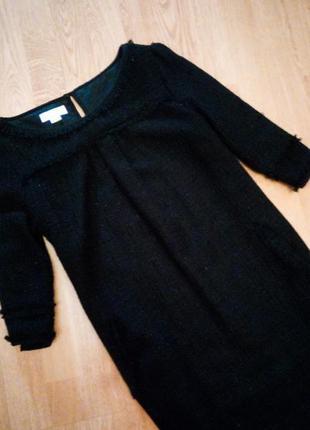 Чёрное платье теплое твидовое на подкладке зимнее классическое повседневное monsoon