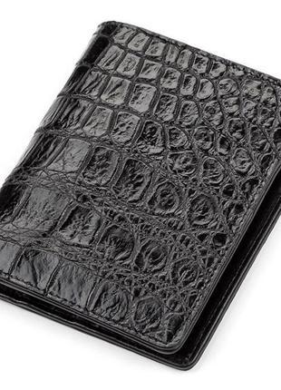 Портмоне crocodile leather 18047 из натуральной кожи крокодила черное, черный