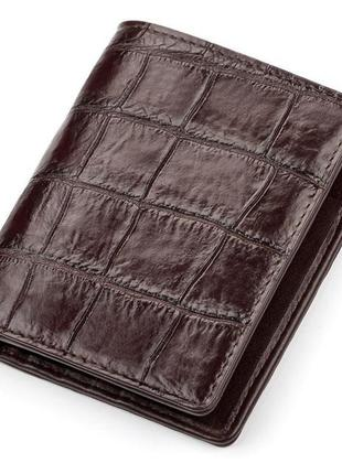 Портмоне crocodile leather 18051 из натуральной кожи крокодила коричневое, коричневый