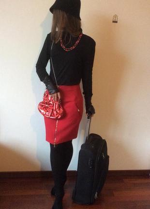 Gf ferre стильная красная юбка, плотный трикотаж