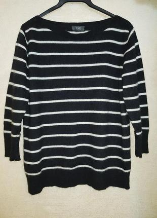 Стильный кашемировый джемпер свитер в полоску,100% кашемир