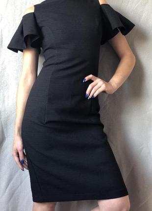 Шикарное чёрное вечернее платье миди