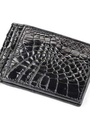 Зажим crocodile leather 18050 из натуральной кожи крокодила черный