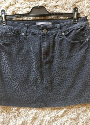Юбка джинсовая  котон анималистическая