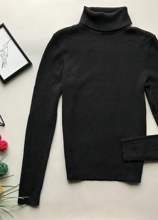 Базовый чёрный гольф  в рубчик / чёрный свитер в рубчик