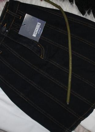 Темно синяя прошитая джинсовая юбочка. джинс не тянется missguided2 фото