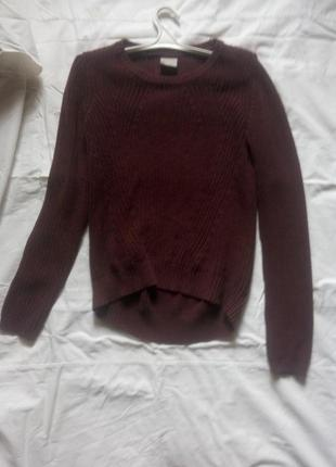 Бордовый теплый свитер veromoda