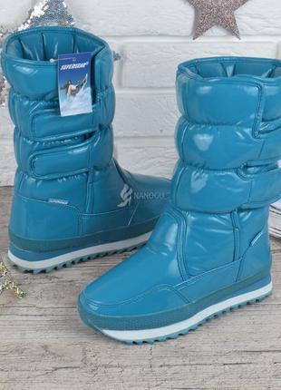 Дутики super gear женские высокие зимние сапоги бирюзовые на липучках