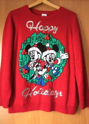 Тёплый свитер disney новогодний стиль uk 14 наш 48-50 смотрите замеры