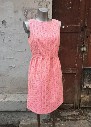 Платье бежевое розовое гобелен принт люрекс