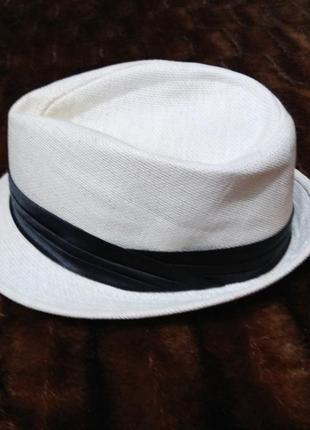 Летняя белая мужская шляпа размер 57 см